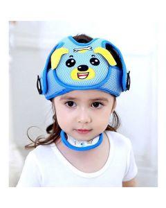 Шлем противоударный защита головы ребенка сетчатый Baby Code Собачка голубой
