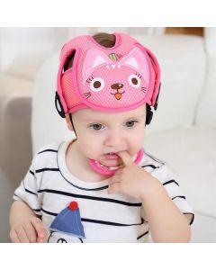 Шлем противоударный защита головы ребенка сетчатый Baby Code Котенок розовый