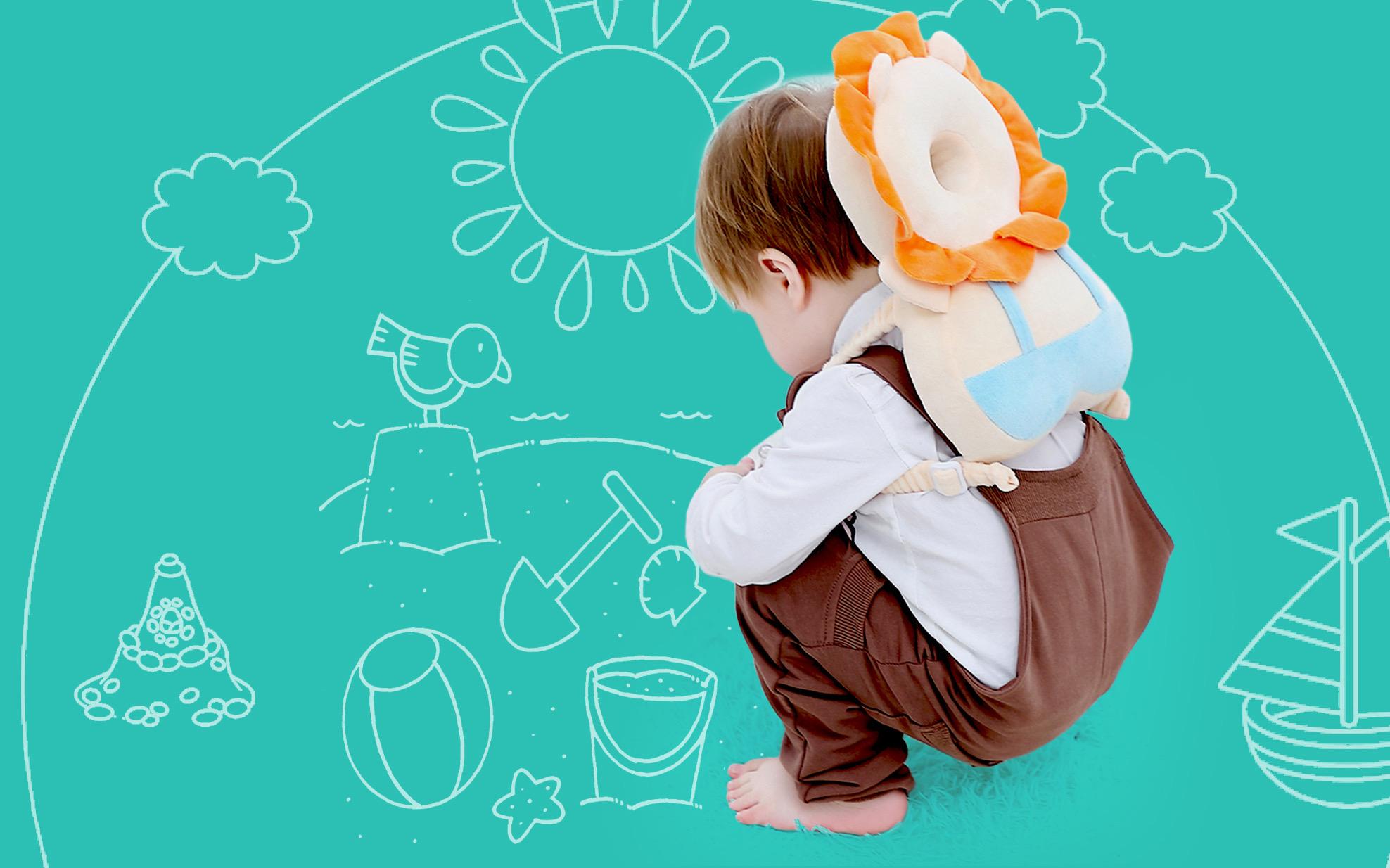рюкзачок-подушка создан с учетом среднего роста годовалых детей